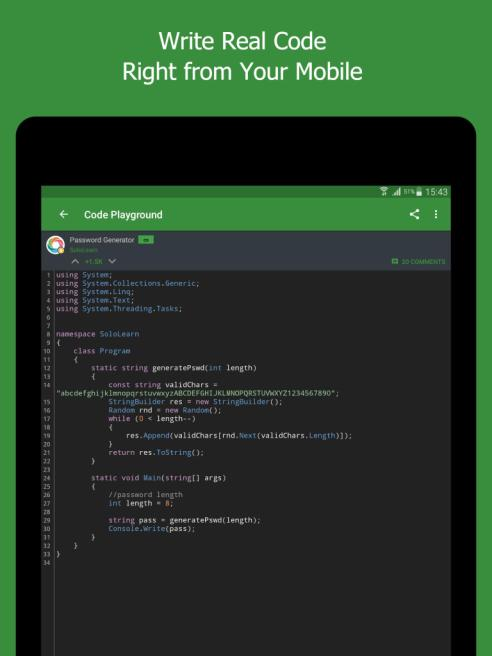 solo learn app code playground
